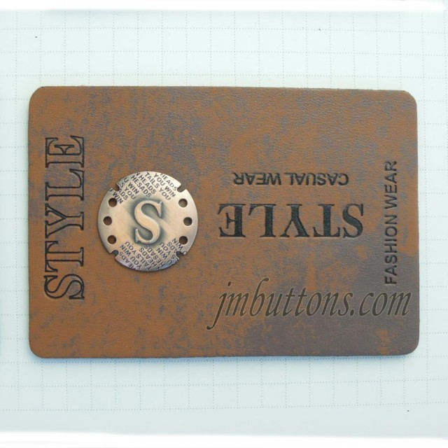 310bb2b463fd Custom Leather Labels With Metal Logo Plates China Supplier