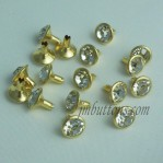 Gold Metal Base Open End Rhinestone Strass Rivet Tack Wholesale