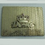 Customized Golden Crown Rhinestone Metal Leather Label