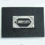 Wholesale Artificial Leather +Metal Jeans Labels Patch With Rhinestone