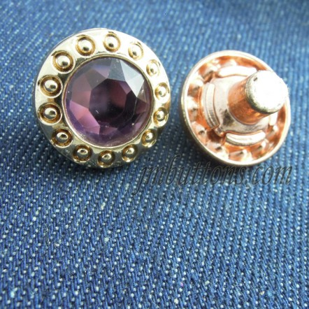 15mm-20mm Gold Jean Buttons With Glass Rhinestone Wholesale
