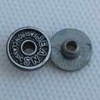 11mm Letter Relief Black White Jeans Tack Button Rivet