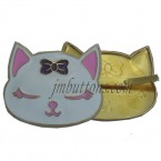 cute cat head metal plate decoration for handbags
